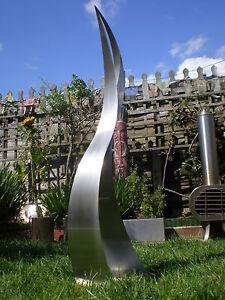 modern bespoke stainless steel garden sculpture