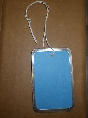100 Medium Blue Hanging Price Tags Pricing Jewelry Retail Metal Rim Rimmed