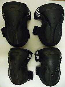 BLITZ SKATE BOARD/BMX Bike Elbow  and Knee Pad Set BLACK NEW!