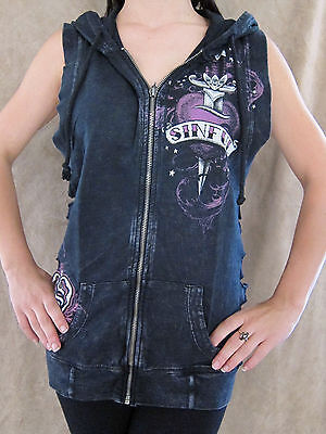 Sinful By Affliction Womens Distressed Zip Up Hooded Vest Shirt Top Medium