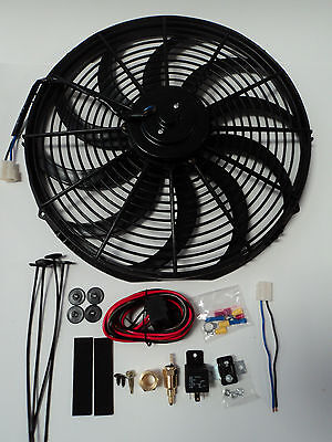 "16"" Electric Fan 3000 CFM + Wiring Install Kit Complete Thermostat 50 Amp Relay"