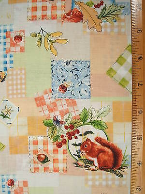 Squirrels Bees Patchwork Look Print Fabric By The Yard Bty