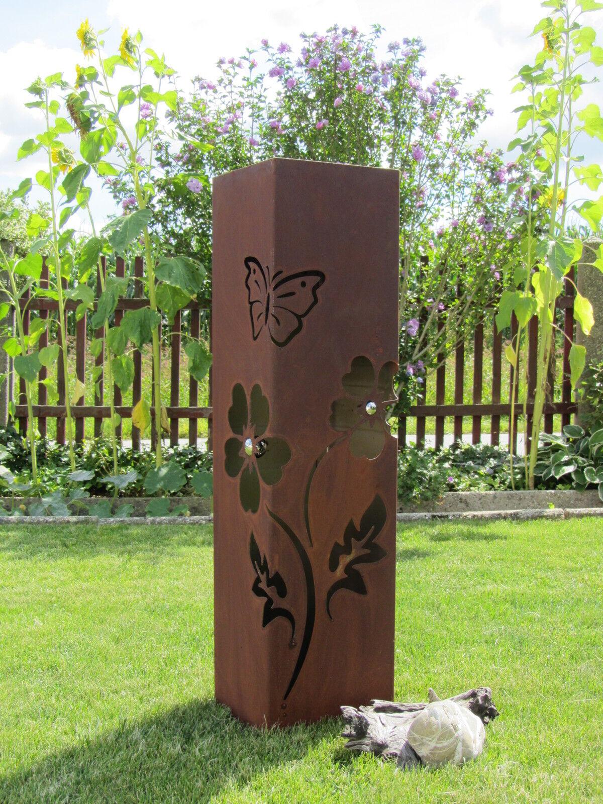 4eck s ule rost blume edelrost metall gartendeko stele for Rost deko kugel