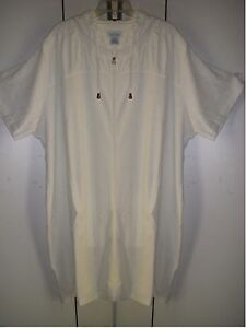 Sz 1X Beach Pool  Cover Up White Terry Zippers Hood Pockets Lounger New 1X  2X