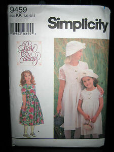 Vintage-Simplicity-9459-Girls-Dress-Hat-Pattern-Sizes-8-10-12