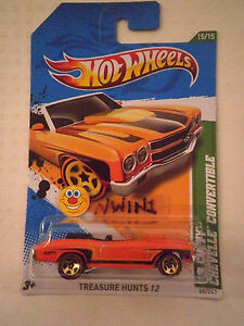 HOTWHEELS 2012 REGULAR TREASURE HUNT '70 CHEVY CHEVELLE CONVERTIBLE HOT HOT HOT