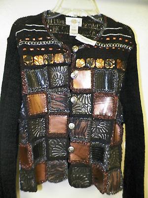 Woman's Sandy Starkman Button Front Sweater Metallic 259.00 Sz Small