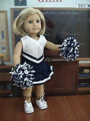"Lovvbugg Navy Blue Cheerleader for 18"" American Girl and Bitty Baby Doll Clothes"