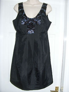 Sequin-Taffetta-Black-Dress-Designer-PIED-A-TERRE-RRP-150