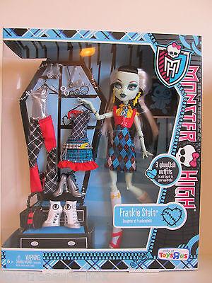 Monster High Frankie Stein Doll 3 Outfits & Accessories Daughter of Frankenstein