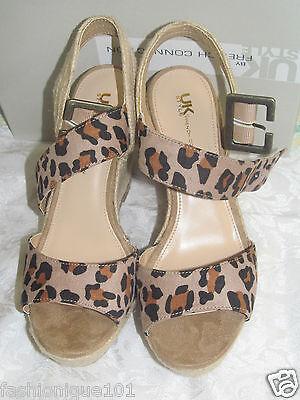 Uk Style French Connection Cheetah Print Wedge Platform Sandal Size 8.5m
