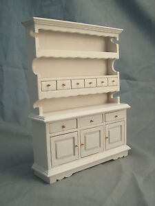 Kitchen Hutch White T5114  miniature dollhouse furniture wooden 1pc 1/12 scale
