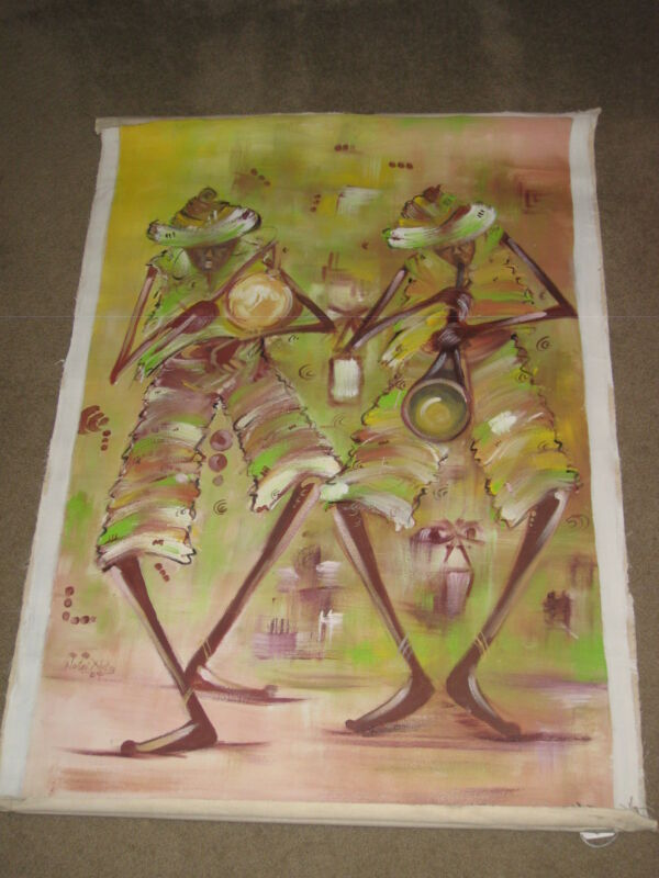 "NORTEI NORTEY PAINTING *2 COLORFUL MUSICIANS PLAYING/DANCING* BIG 26""x43"" CANVAS"
