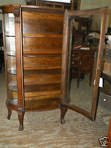 oak dining room china display cabinet lions head amp paw feet ebay