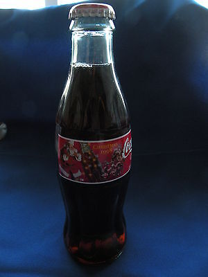 Coke bottle 8 Oz. full Christmas 1998 Santa list, coke bottle lights Coca-Cola