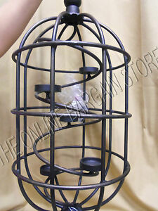 Frontgate-Outdoor-Tea-Light-Candle-Holder-Birdcage-Wrought-Iron-Hanging-Vintage