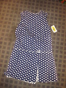 Vintage-1960s-Brady-scooter-dress-skort-blue-white-dots
