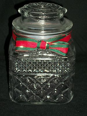 Anchor Hocking Wexford Square Christmas Glass Candy Jar Canister Snack Container