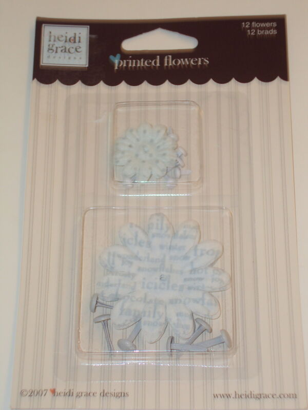 Heidi Grace Printed Flowers and Brads, Blue and White, NEW
