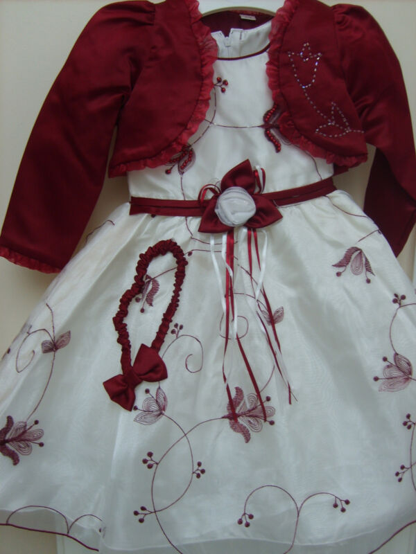 Girls Wedding Occasion Cream Burgundy Bridesmaid Dress Bolero 28 Yrs