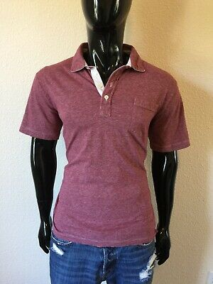 Mini Striped Polo Shirt - Billy Reid Short Sleeve Antique Red Mini Stripe Pocket Polo Shirt Size XL