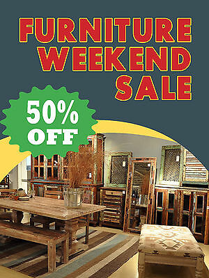 Furniture Weekend Sale Business Retail Display Sign 18w X 24h Full Color