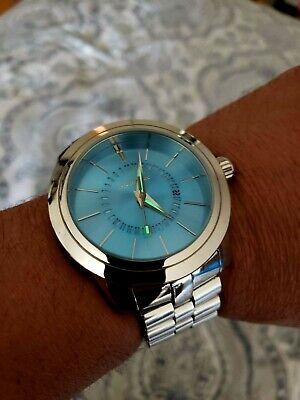ARAGON Men's 50mm Radius Quartz Date Dial Stainless Steel Bracelet Watch
