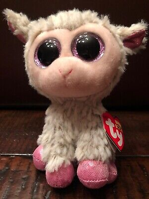"""Ty Beanie Boos 6""""Small Easter Grey Lamb Pink Buddy Plush 2017 Dixie Heart Tags"""