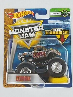 Hot Wheels Monster Jam Zombie 1/64th Monster Truck Crushable car Creatures (Zombie 1)