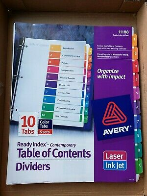 Avery 11188 Ready Index 10 Tab Dividers Windex Page 5 Sets