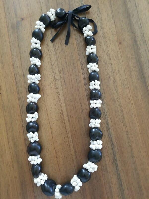 "Kukui Nut Shell Lei 34"" Necklace Hawaiian Luau Graduation Wedding White  Black"