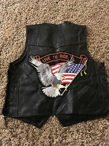 Black leather Motorcycle Vest medium