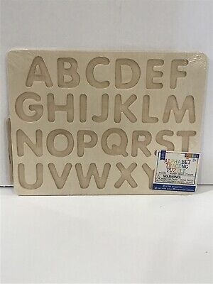 "Alphabet Wooden Tracing Puzzle Home School Learning Toy 9x12 1-3/4"" Letters NWT"