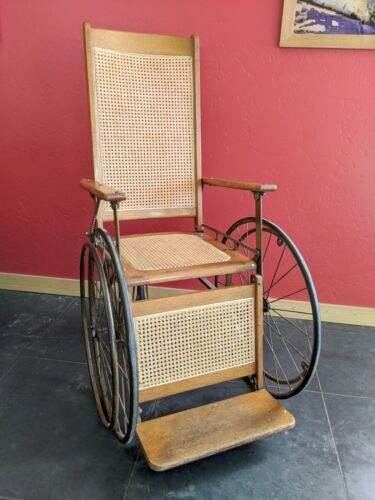 Antique Vintage Gendron 3 wheeled Wood Wicker Cane Reclining Wheelchair