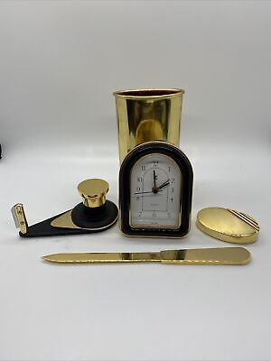 Gold Desk Accessories-clock Tape Dispenser Paper Weight Letter Opener Cup