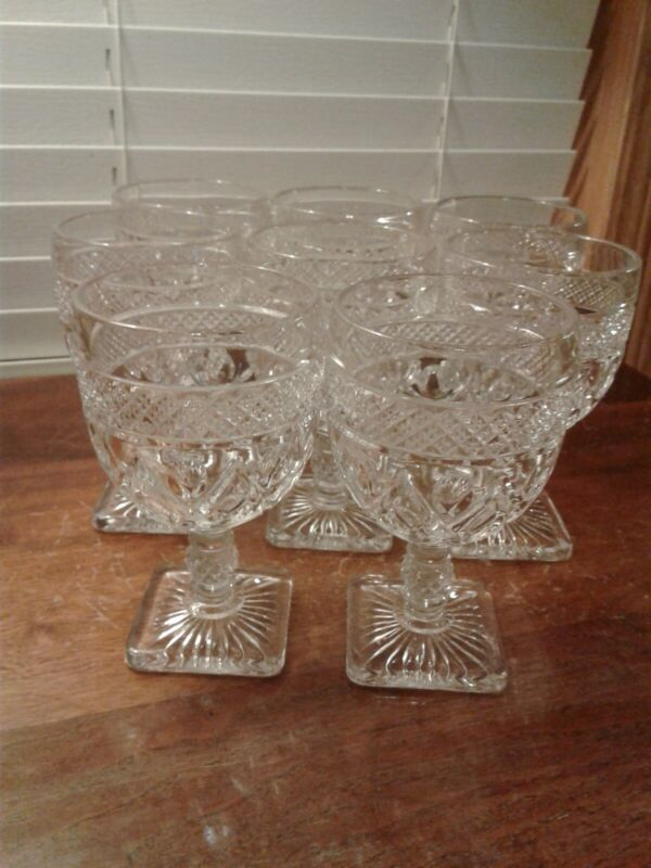 Set Of 8 Vintage Imperial Glass Cape Cod 1602/160 Clear Footed Water Glasses