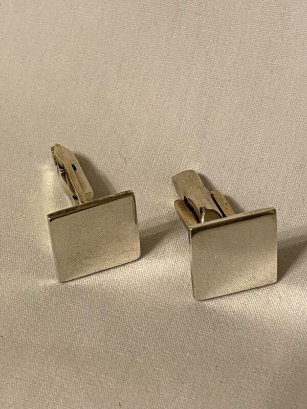 Morgan Square Plain Cufflinks 925 Sterling Silver Engraveable Men