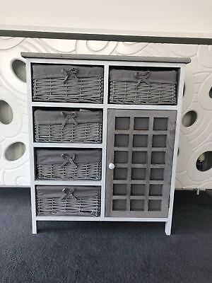 Grey Rustic Storage Unit Cupboard Chest of Drawers Wicker Baskets Vintage Rattan ()