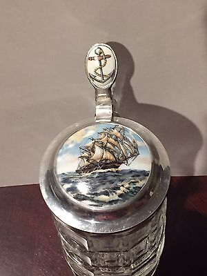 Unusual Vintage German Glass Beer Stein With Ship Inlay Lid