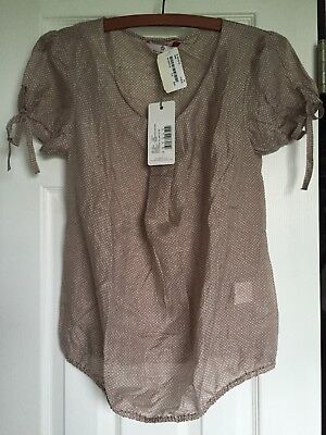 NWT Belly Button Maternity Warm Taupe With White Polka Dots S/S Blouse Size 4US