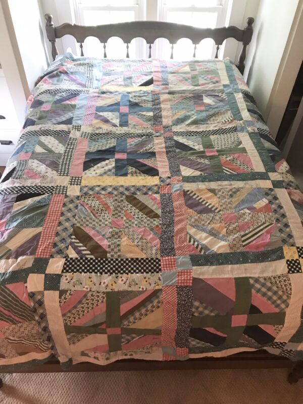 Vintage Full Sized Patchwork Quilt Top, Unfinished, 1940