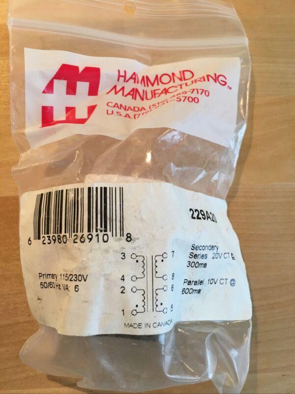 Hammond Manufacturing 229A20 Low Profile Transformer 115/230V-20V
