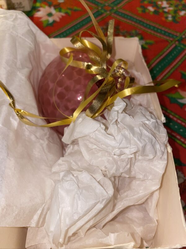 Pilgrim Cranberry Glass Christmas Ornament - Pink - Hand Made with Gold in USA