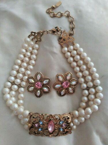 1928 vintage faux Pearl Choker And Earrings Set art deco
