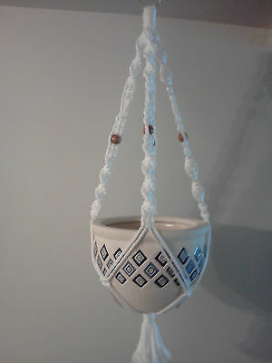 TMP-003 Handmade Macrame Plant Hanger White with Brown beads