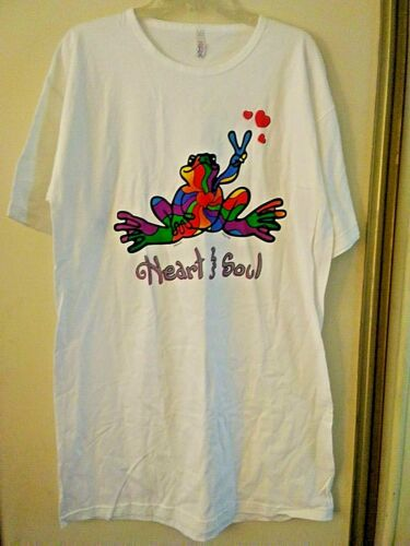 """""""Peace Frogs"""" Night Shirt """"Heart & Soul""""  3 Red Hearts Floating on Left Side!!"""