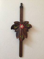 "NEW CUCKOO CLOCK WOOD LEAF PENDULUM, HAND PAINTED FLOWER, Germany (7-1/4"" Long)"