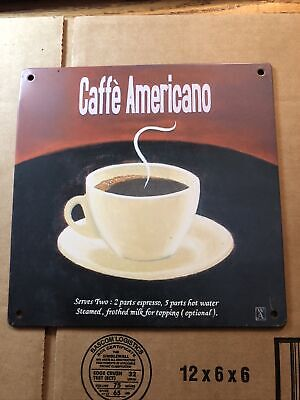 """TIN SIGN """"Caffe Americano"""" Cafe Kitchen Retro Vintage Art Poster In USA !"""