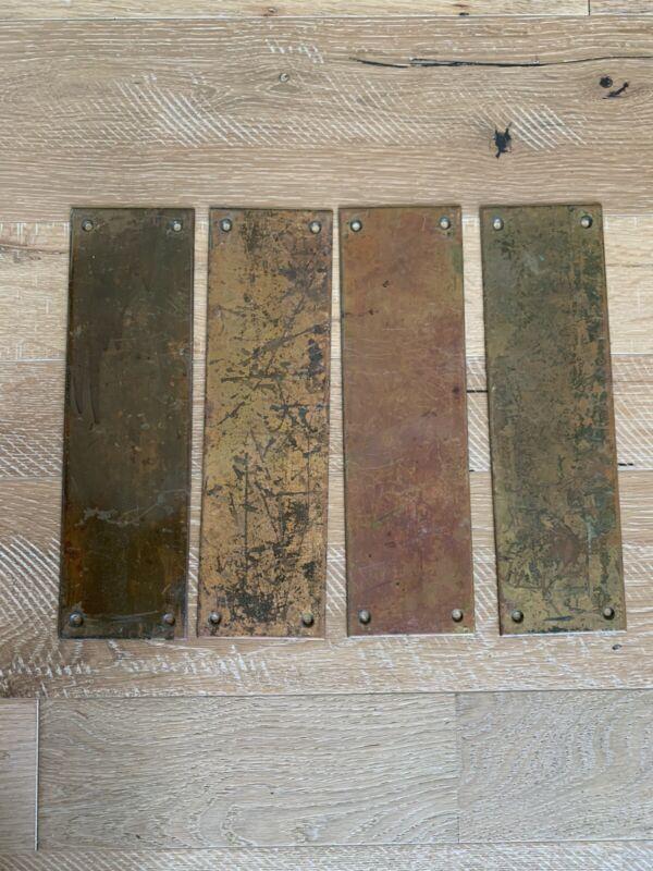 "4 Vintage Solid Copper Door Push Plates Antique Hardware 12"" X 3-1/2"""
