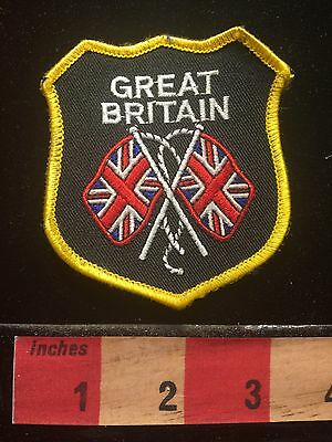 England GREAT BRITAIN CROSSED UNION JACK FLAGS Patch United Kingdom UK 69TT